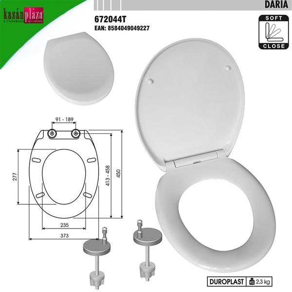 WC ülőke Daria műanyag lecsapódásgátlós, antibakteriális, fém zsanérral, klikkes