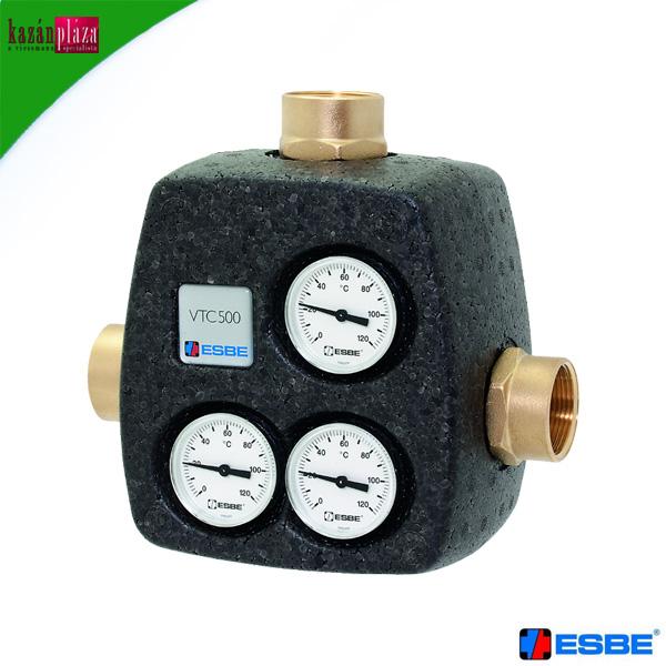 ESBE VTC 531 töltő szelep 6/4 DN40 60 °C Kvs=8 +3 db golyóscsap+3 db hőméro+hőszigetelés